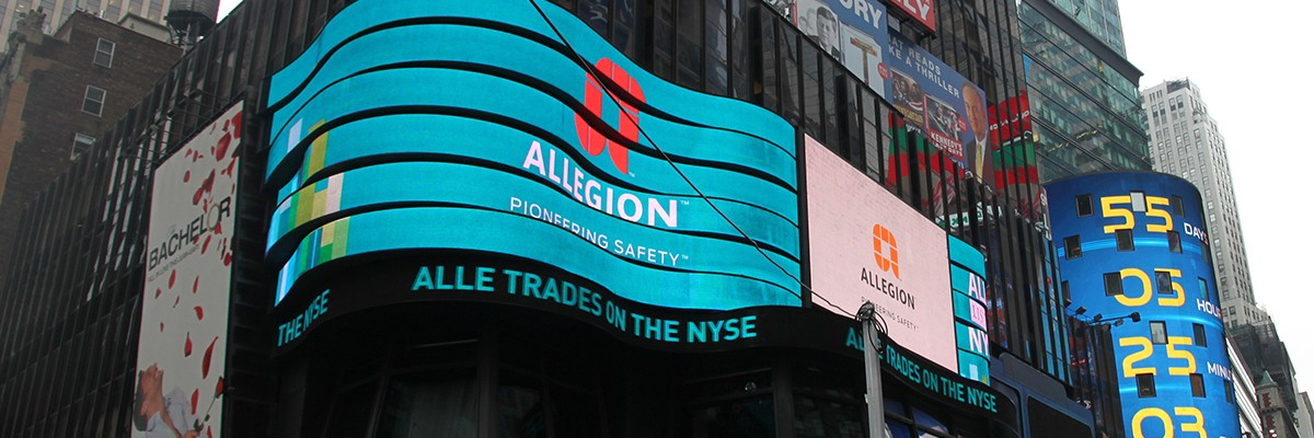 Allegion logo in Times Square